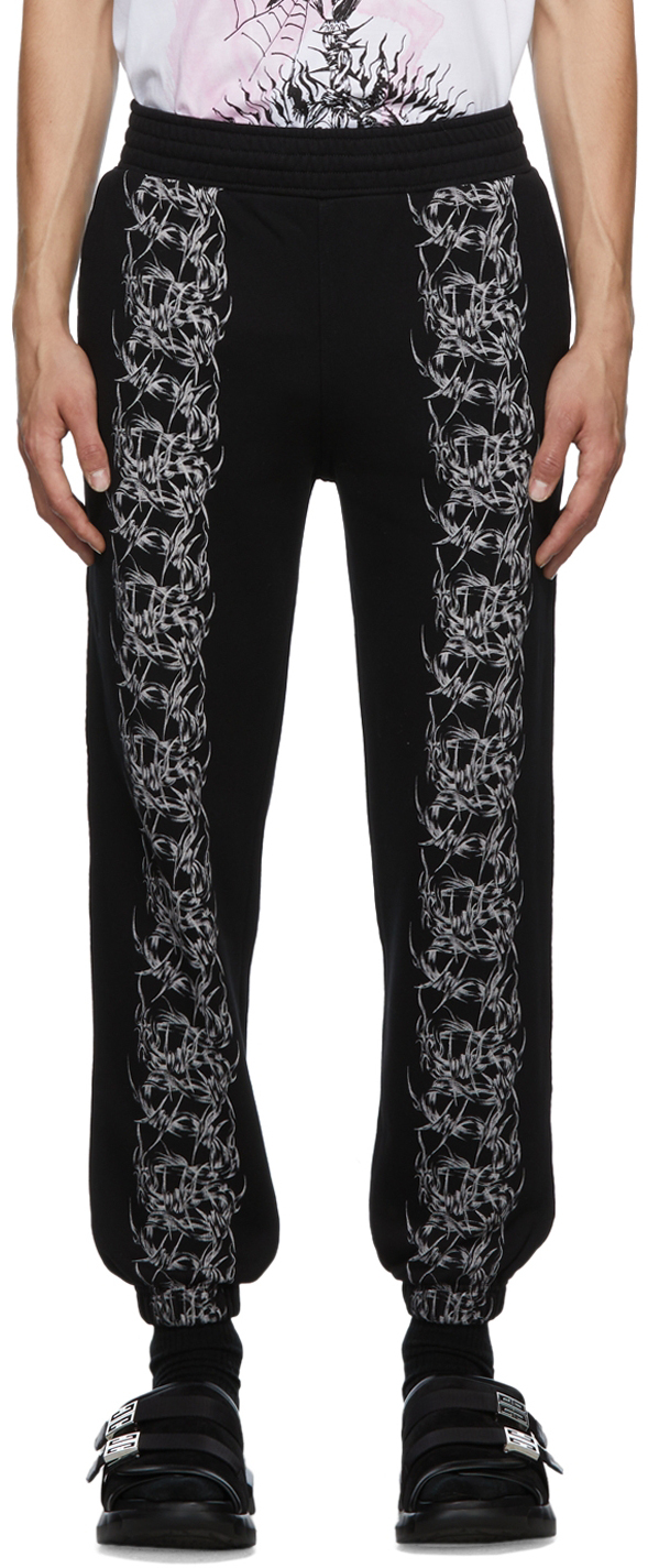 Photo: Givenchy Black Slim Fit Barbed Wire Lounge Pants