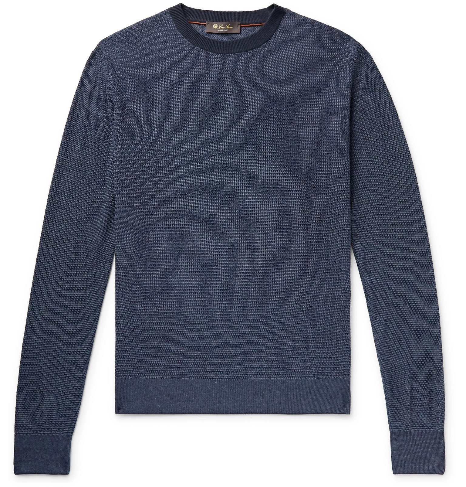 Photo: Loro Piana - Slim-Fit Silk and Linen-Blend Sweater - Blue