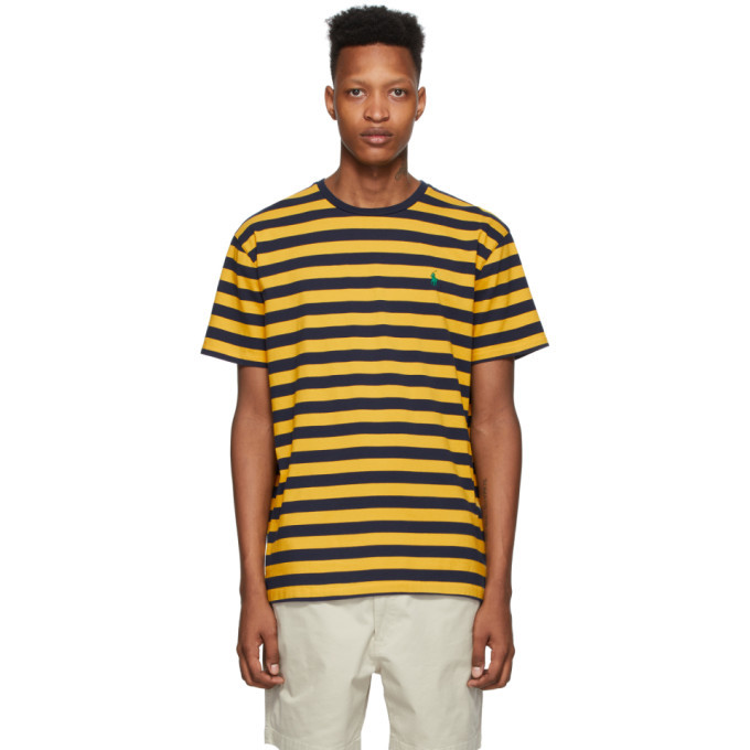 Photo: Polo Ralph Lauren Yellow and Navy Striped Classic Fit T-Shirt