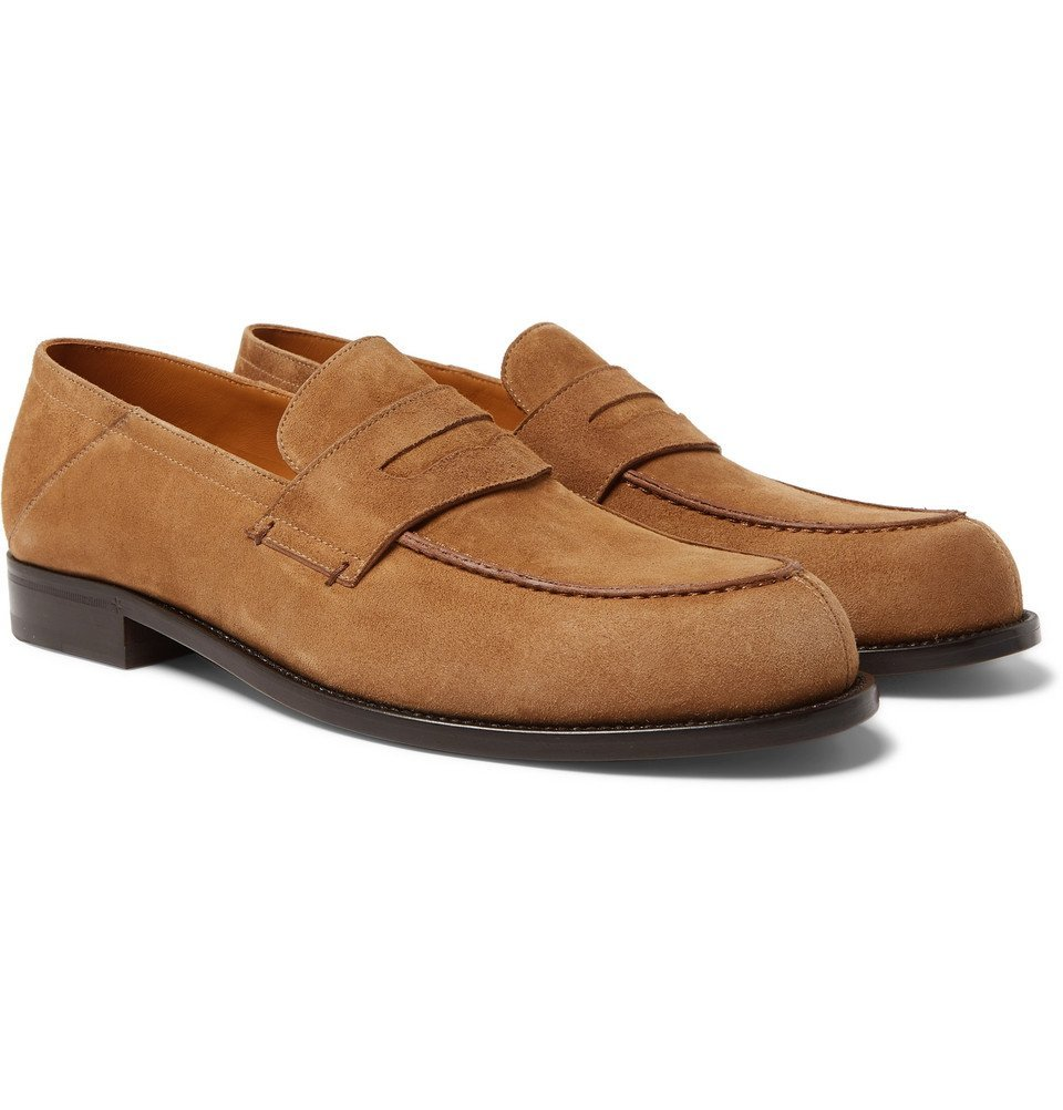 Photo: Mr P. - Dennis Collapsible-Heel Suede Loafers - Brown