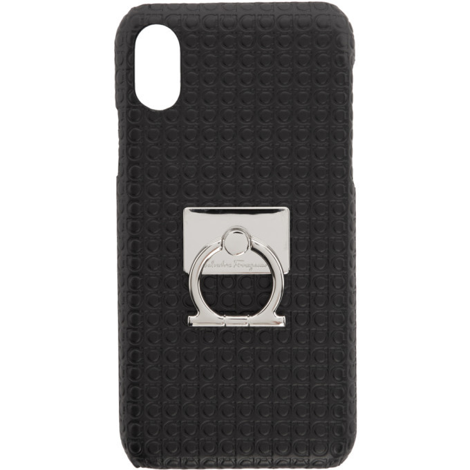Photo: Salvatore Ferragamo Black Mini Gianco iPhone X Case