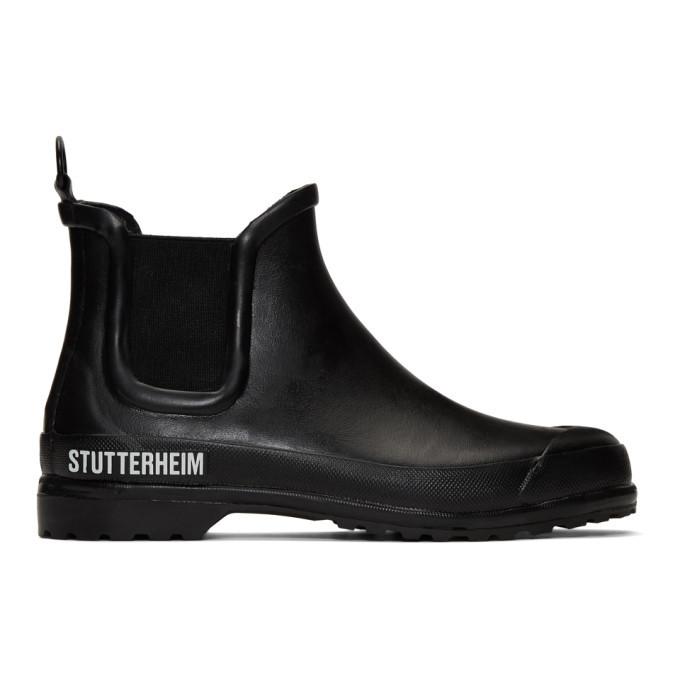 Photo: Stutterheim Black Rainwalker Chelsea Boots