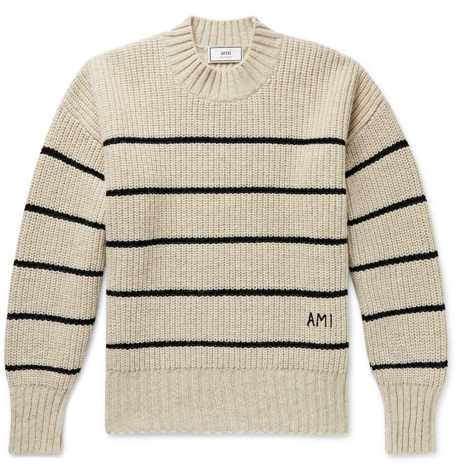 Photo: AMI - Oversized Logo-Embroidered Striped Virgin Wool Sweater - Neutrals