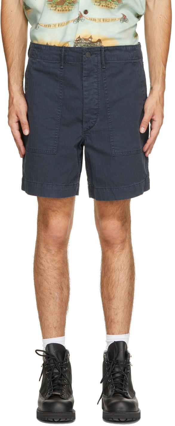 Photo: RRL Navy Herringbone Army Utility Shorts