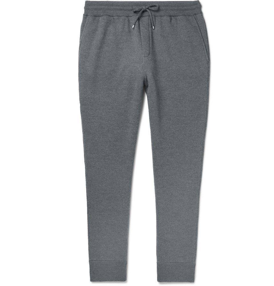 Dunhill - Tapered Loopback Wool and Cashmere-Blend Sweatpants - Men - Anthracite