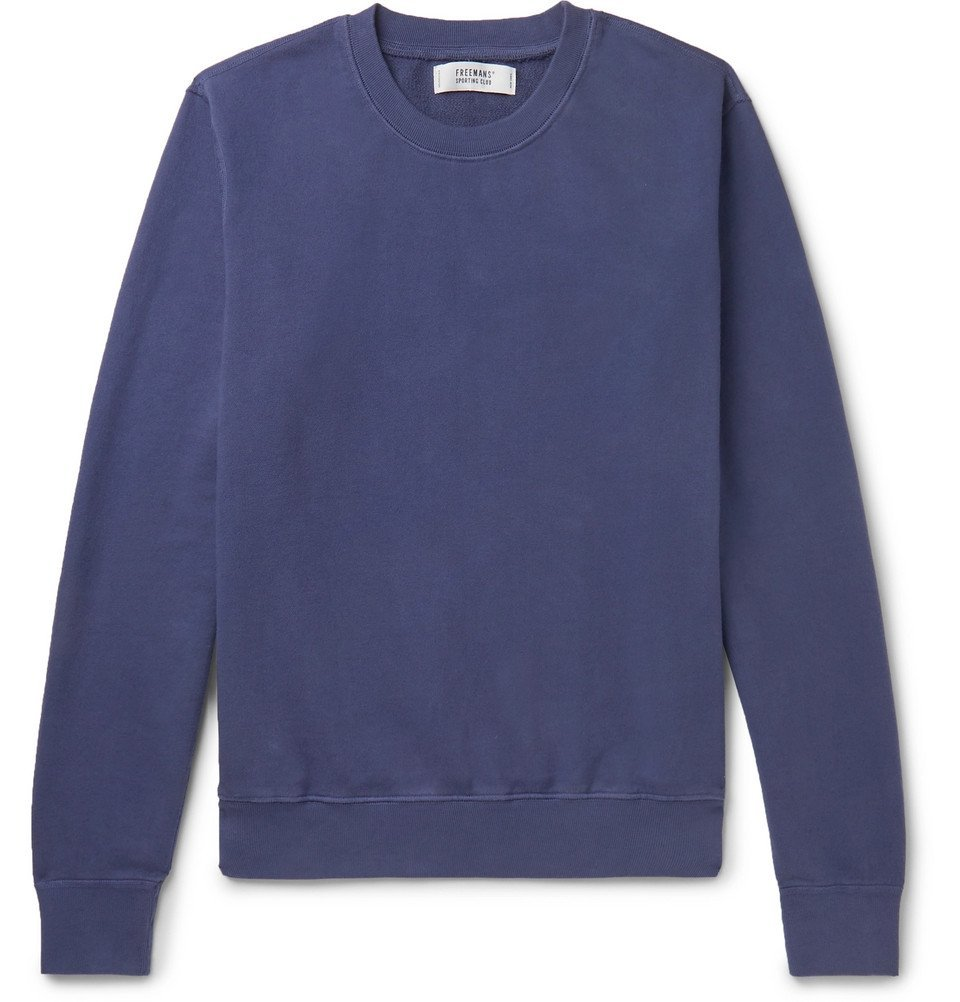 Photo: Freemans Sporting Club - Garment-Dyed Loopback Cotton-Jersey Sweatshirt - Navy