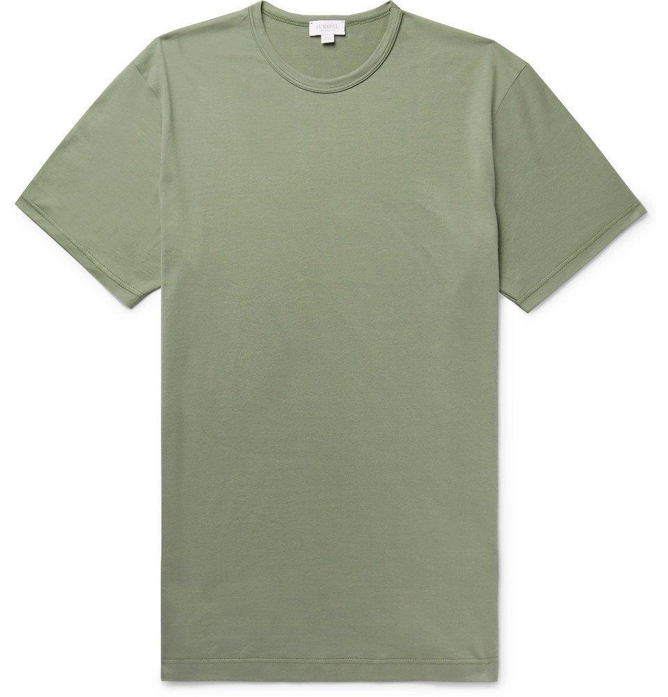 Sunspel - Pima Cotton-Jersey T-Shirt - Men - Army green