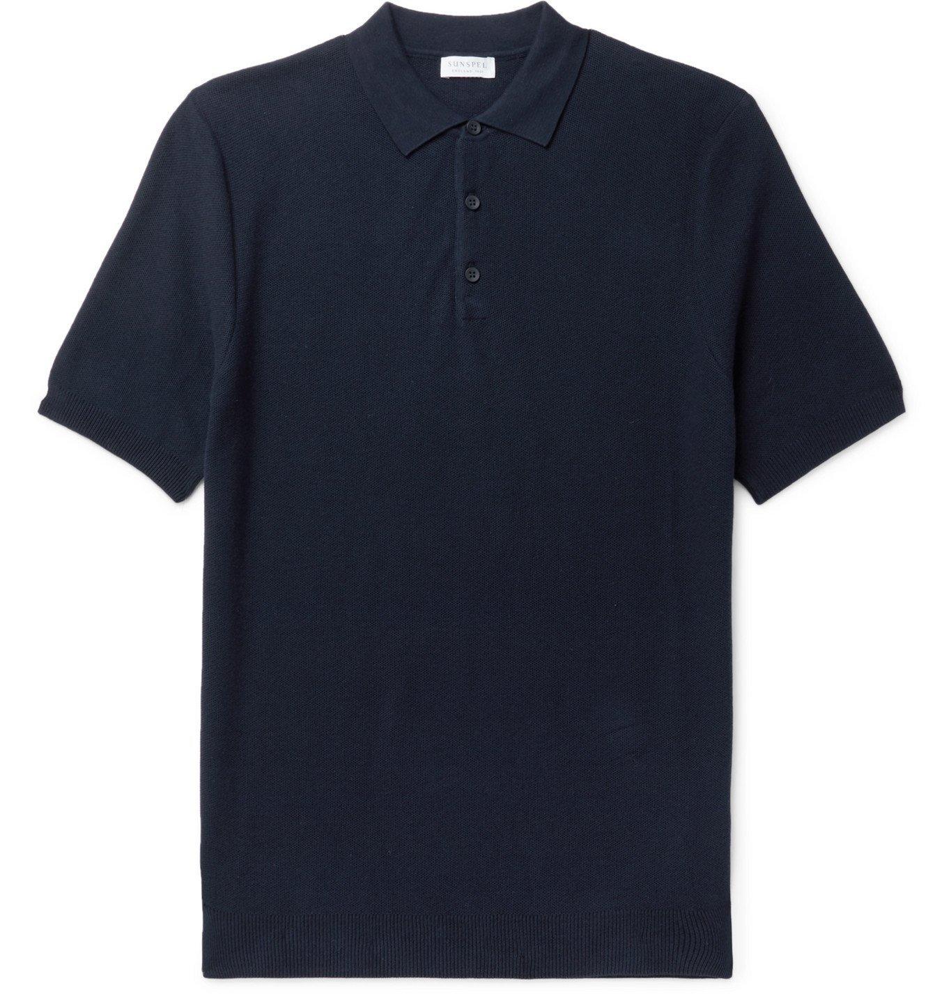 Sunspel - Slim-Fit Cotton-Piqué Polo Shirt - Blue