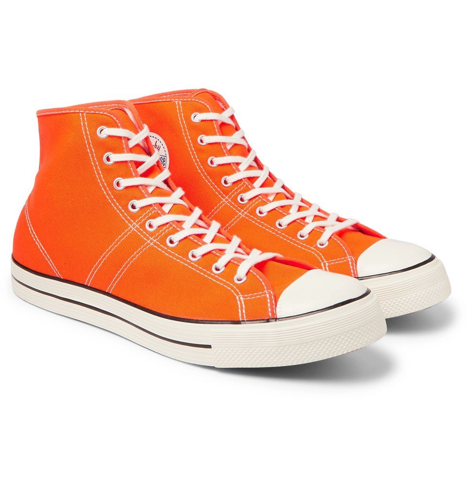 Photo: Converse - Lucky Star Faded Glory Rubber-Trimmed Canvas High-Top Sneakers - Orange
