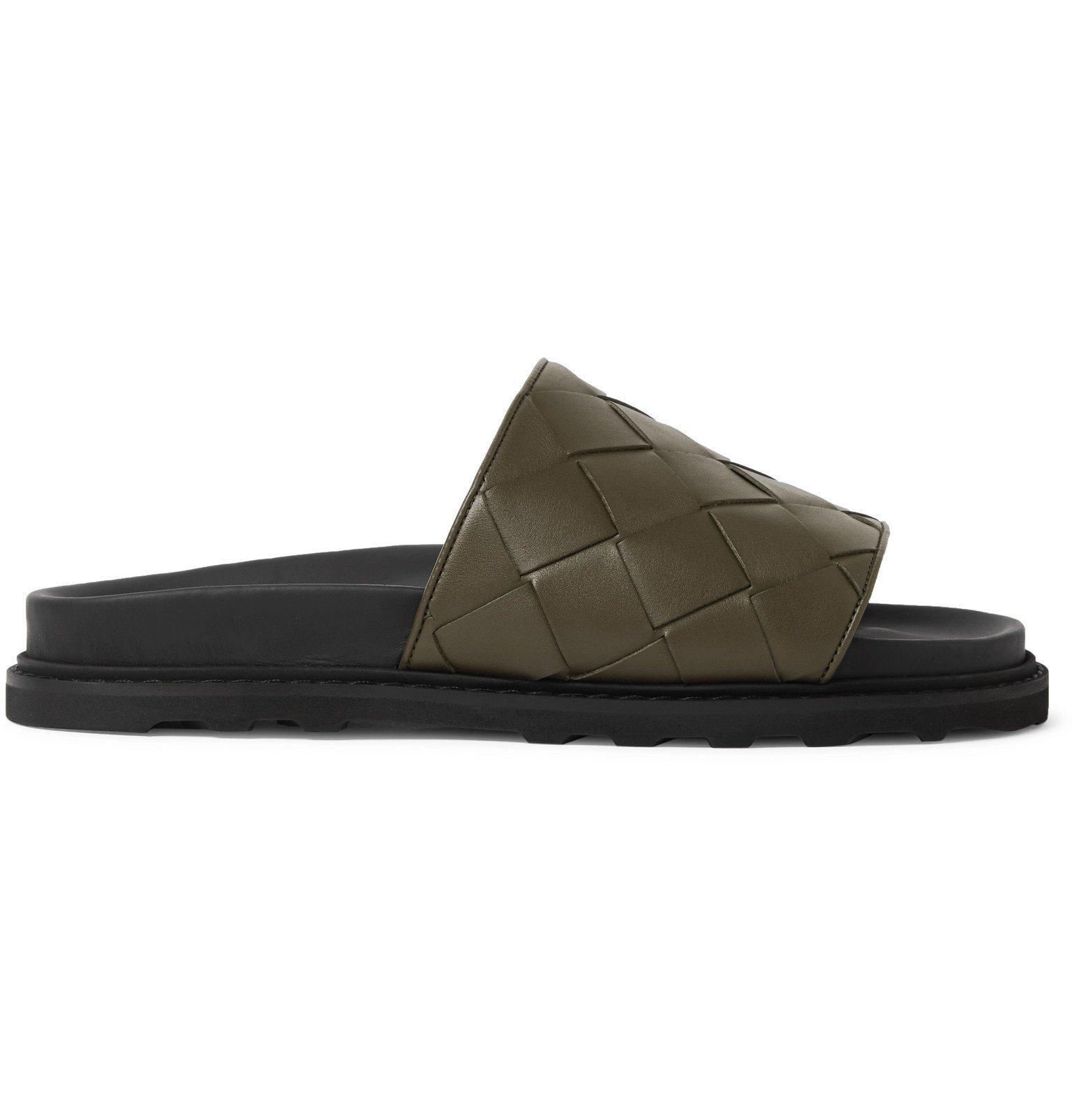 Photo: Bottega Veneta - Intrecciato Leather Slides - Green