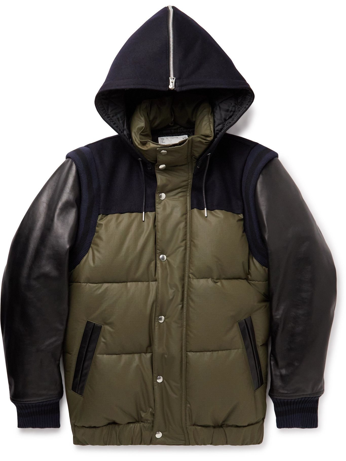 Sacai - Quilted Ripstop, Leather, Felt and Ribbed-Knit Hooded Down Jacket - Green