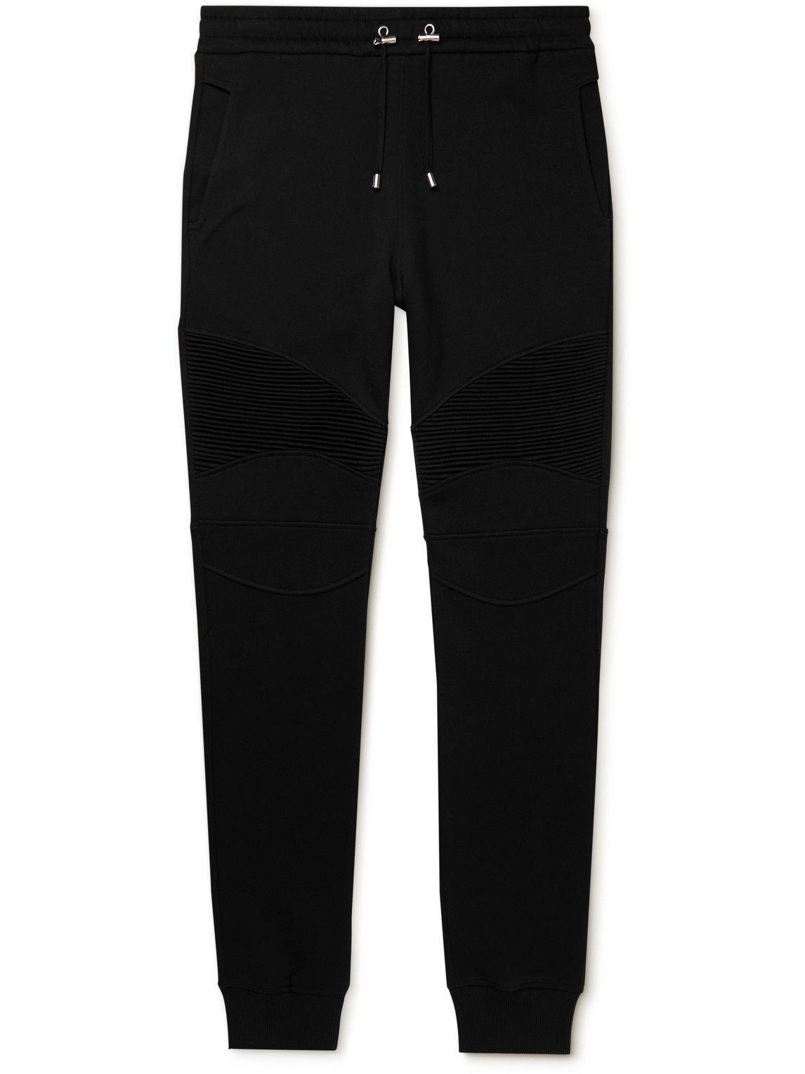Photo: Balmain - Skinny-Fit Panelled Cotton-Jersey Sweatpants - Black