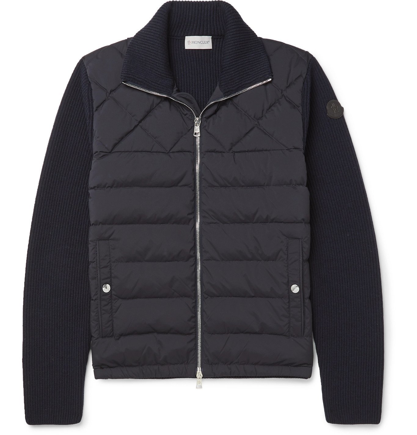 Photo: Moncler - Panelled Wool-Blend and Quilted Shell Down Bomber Jacket - Blue