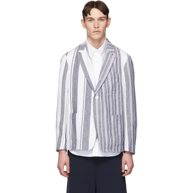 Photo: Thom Browne Navy and White Unconstructed Patch Pocket Blazer