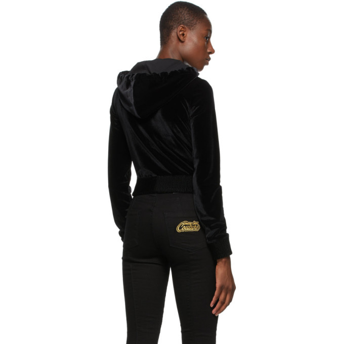 Versace Jeans Couture Black Velvet Zip-Up Hoodie
