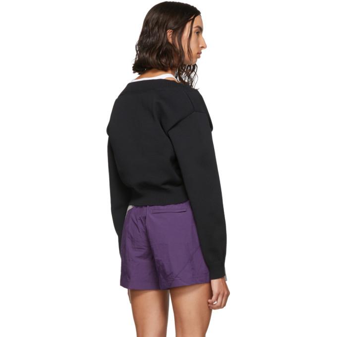 alexanderwang.t Black Cropped Bi-Layer V-Neck Sweater