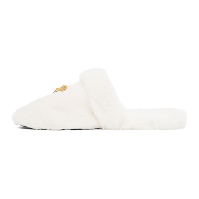 Versace White Faux-Fur Palazzo Slippers