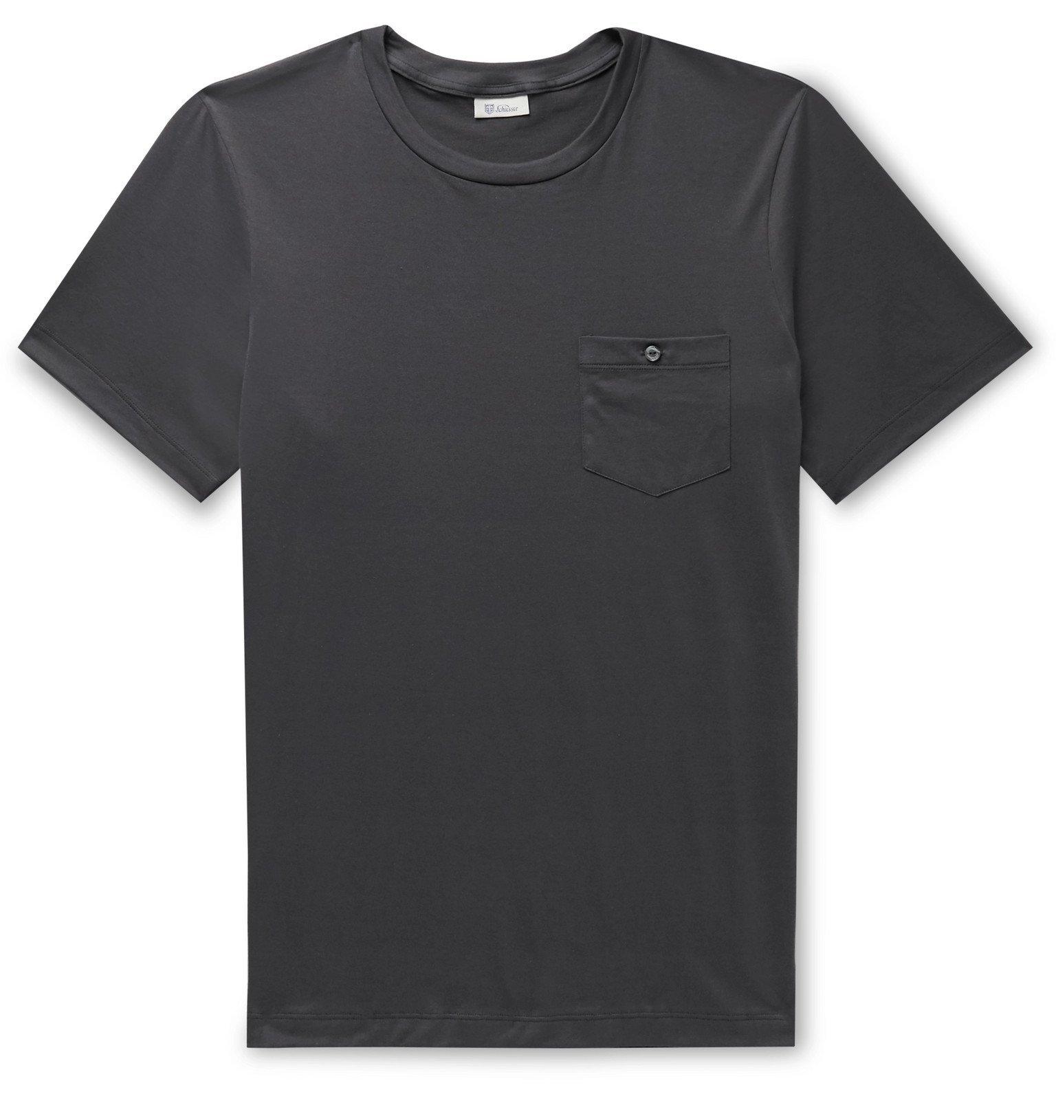 Schiesser - Josef Cotton-Jersey Pyjama T-Shirt - Gray
