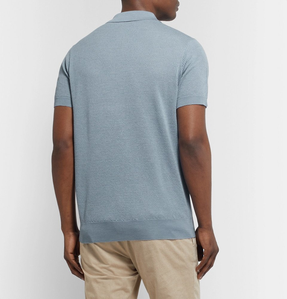 Tod's - Slim-Fit Textured Merino Wool and Silk-Blend Polo Shirt - Light blue