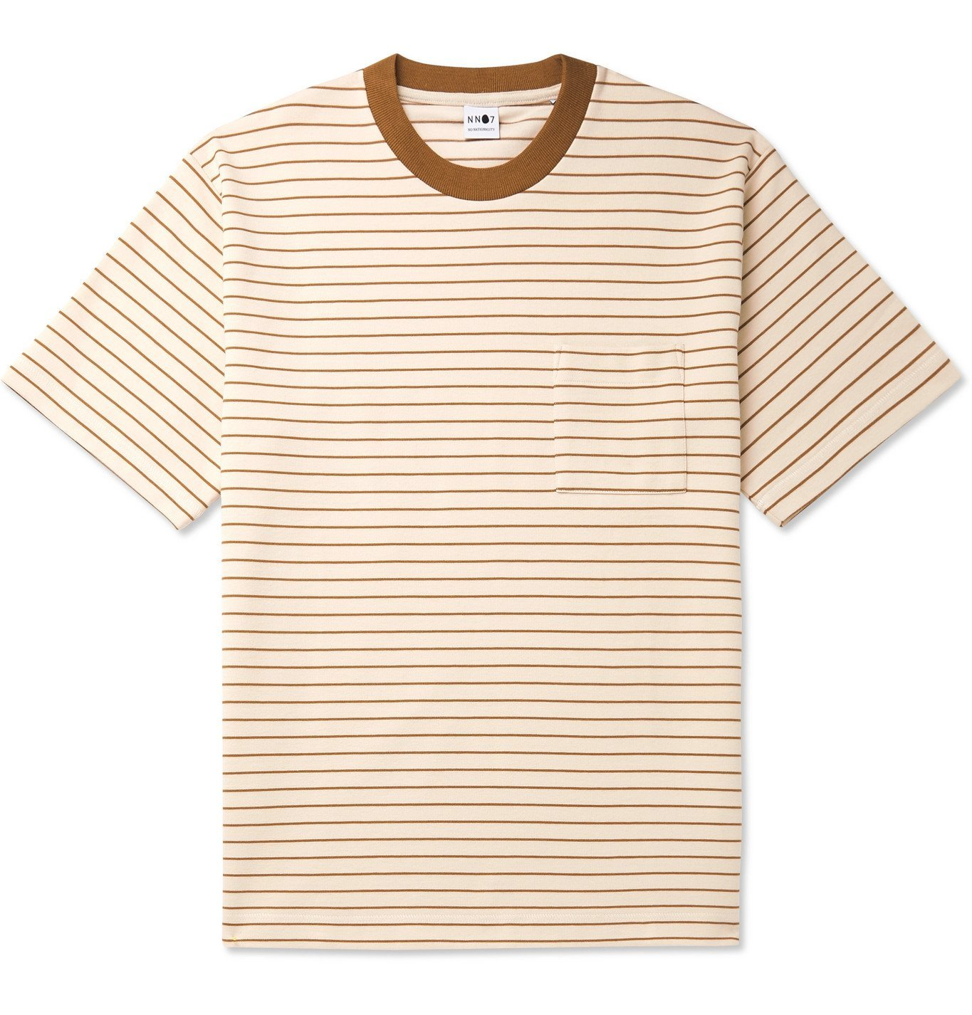 Photo: NN07 - Jorah Striped Stretch-Cotton and Modal-Blend Jersey T-Shirt - White