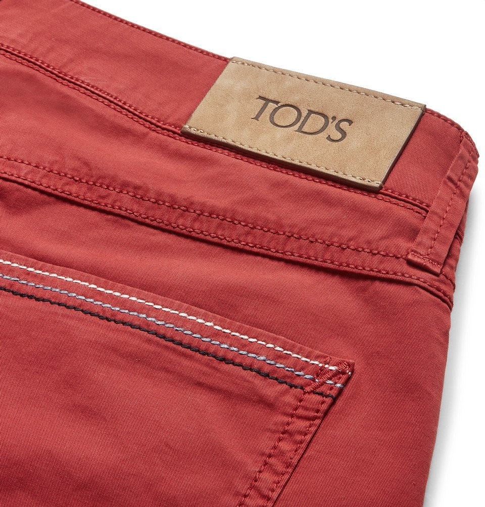 Tod's - Slim-Fit Garment-Dyed Stretch-Cotton Twill Trousers - Men - Red