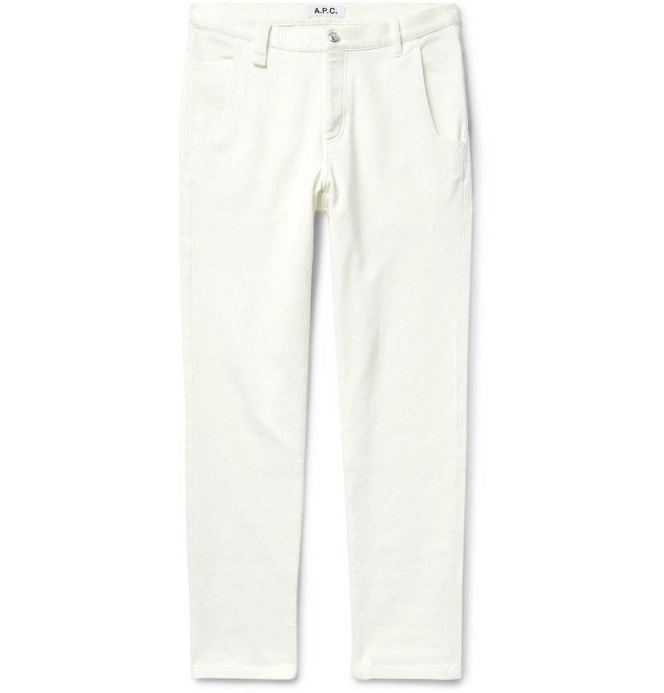 Photo: A.P.C. - Ribbed Stretch-Cotton Jeans - Cream