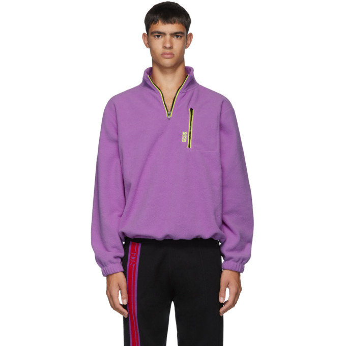 Photo: GCDS Purple Pile Half-Zip Sweater