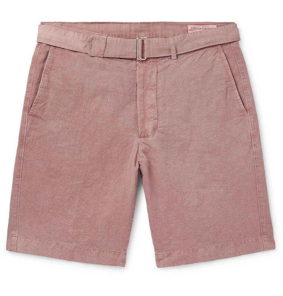 Photo: Officine Generale - Julian Slim-Fit Garment-Dyed Cotton-Blend Shorts - Pink