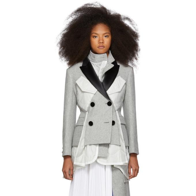 Sacai Grey Double Breasted Melton MA-1 Coat