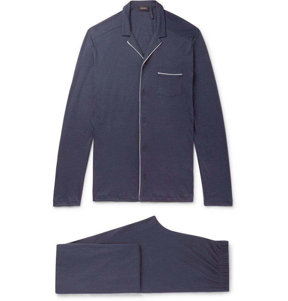 Hanro - Piped Cotton-Jersey Pyjama Set - Men - Blue
