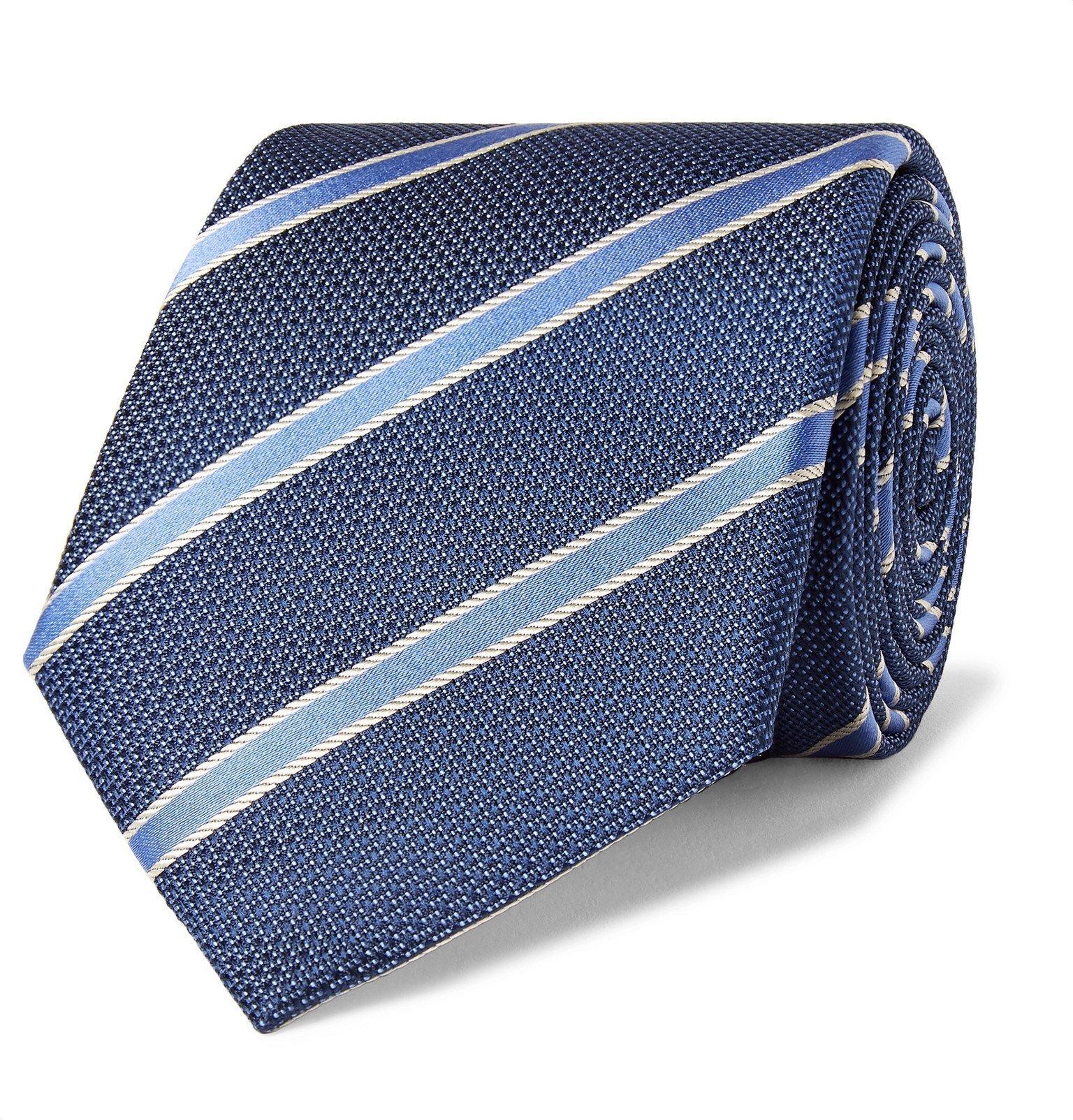 Photo: Canali - 8cm Striped Silk Tie - Blue