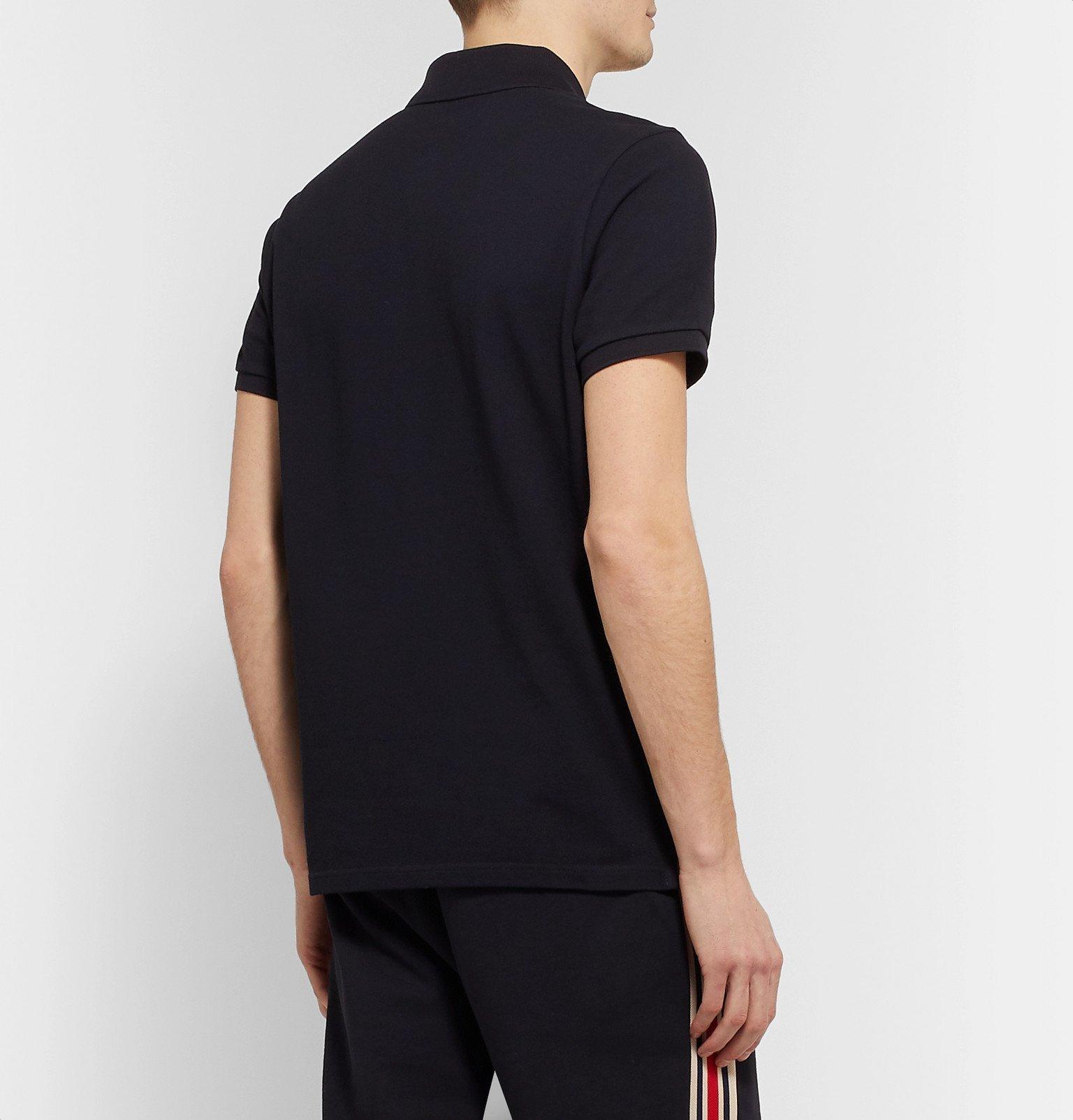 Moncler - Slim-Fit Logo-Appliquéd Cotton-Piqué Polo Shirt - Blue