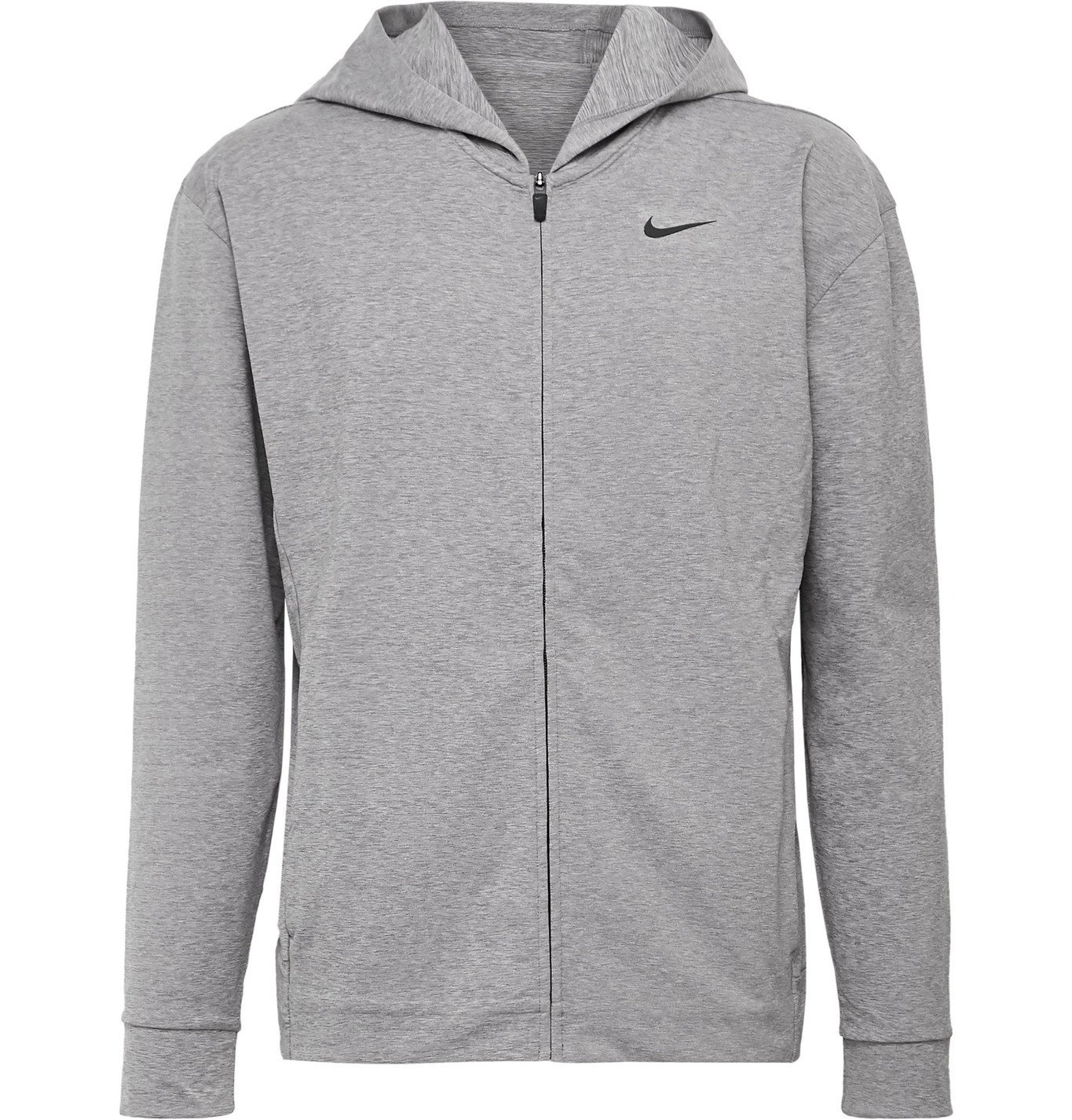 Photo: Nike Training - Mélange Dri-FIT Zip-Up Yoga Hoodie - Gray