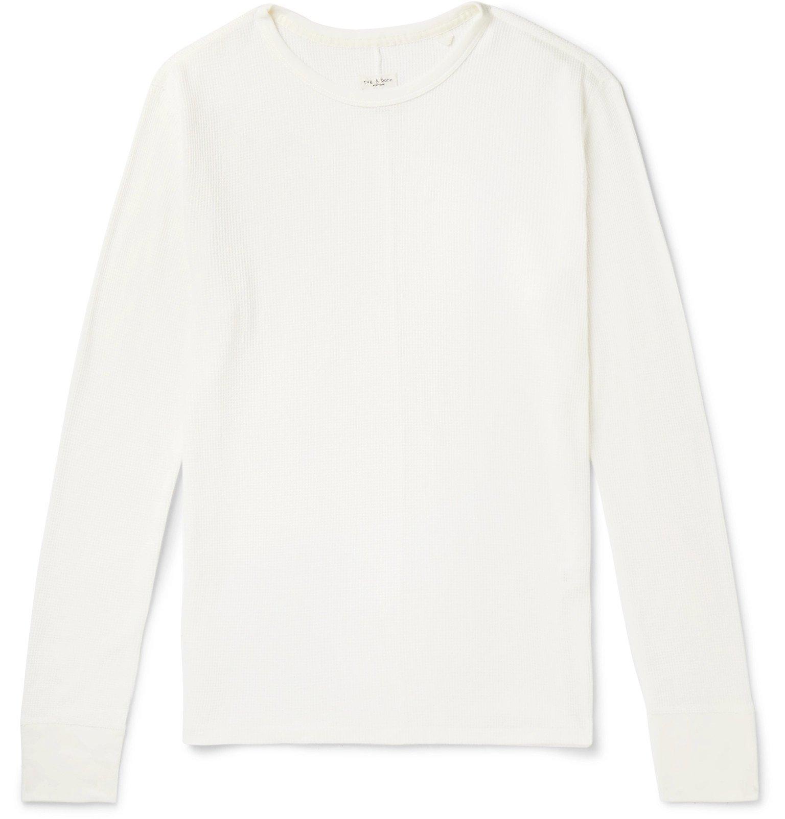 Photo: rag & bone - Waffle-Knit Cotton T-Shirt - White
