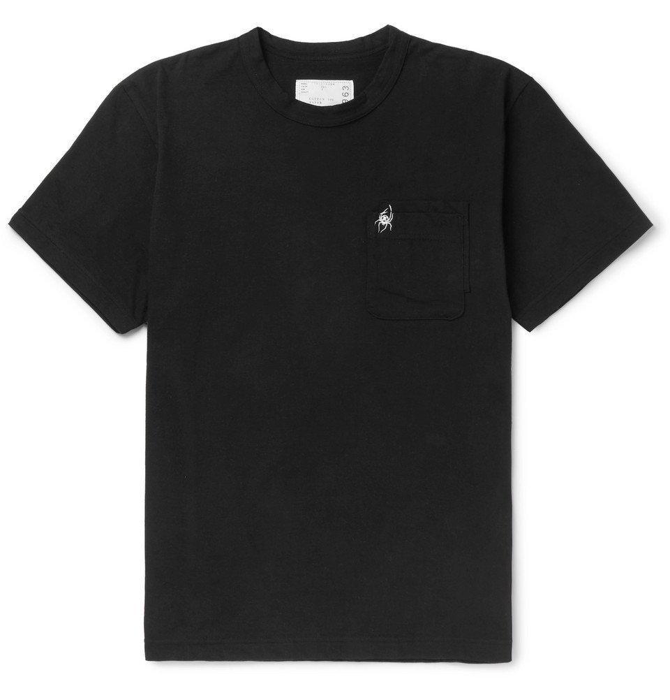 Photo: Sacai - Dr Woo Embroidered Cotton-Jersey T-Shirt - Black