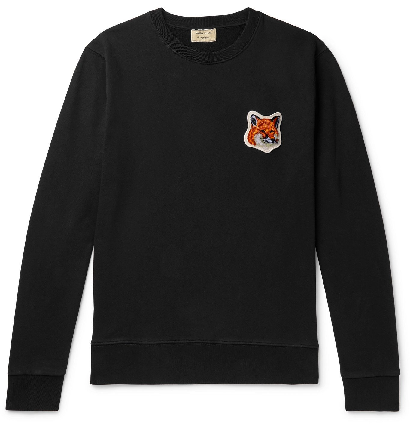 Photo: Maison Kitsuné - Logo-Appliquéd Loopback Cotton-Jersey Sweatshirt - Black