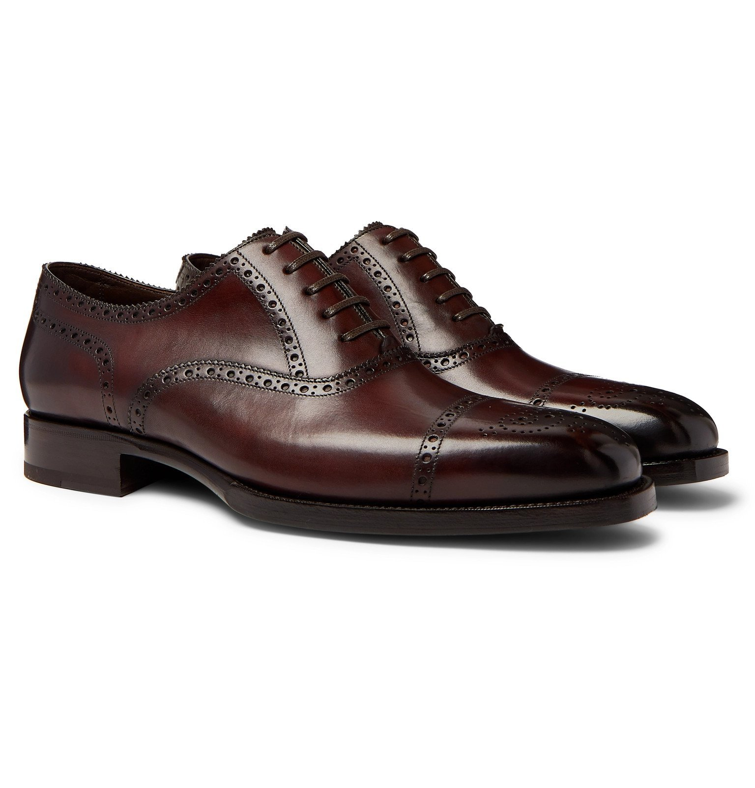 Photo: TOM FORD - Wessex Burnished-Leather Brogues - Brown