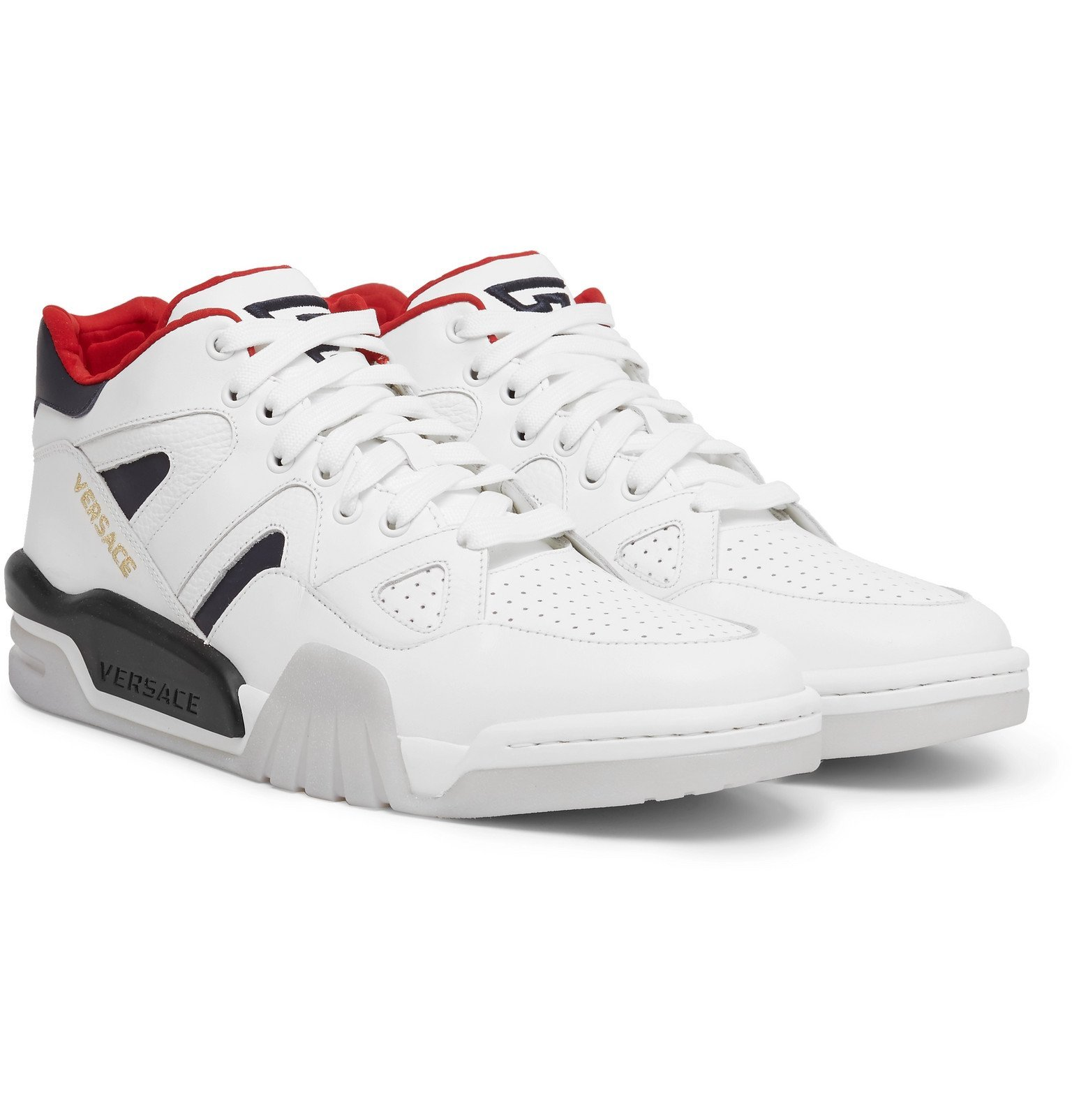 Photo: Versace - Panelled Leather Sneakers - White
