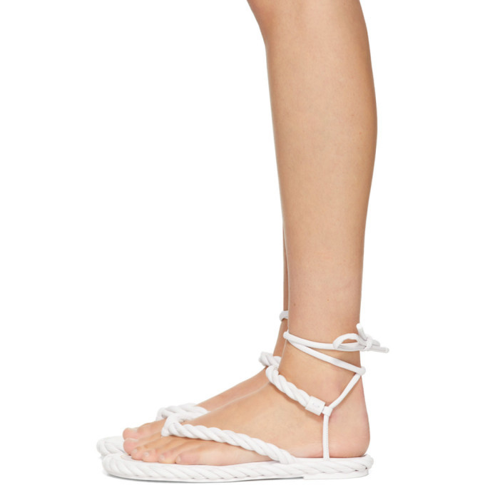 Valentino White Valentino Garavani The Rope Flat Sandals