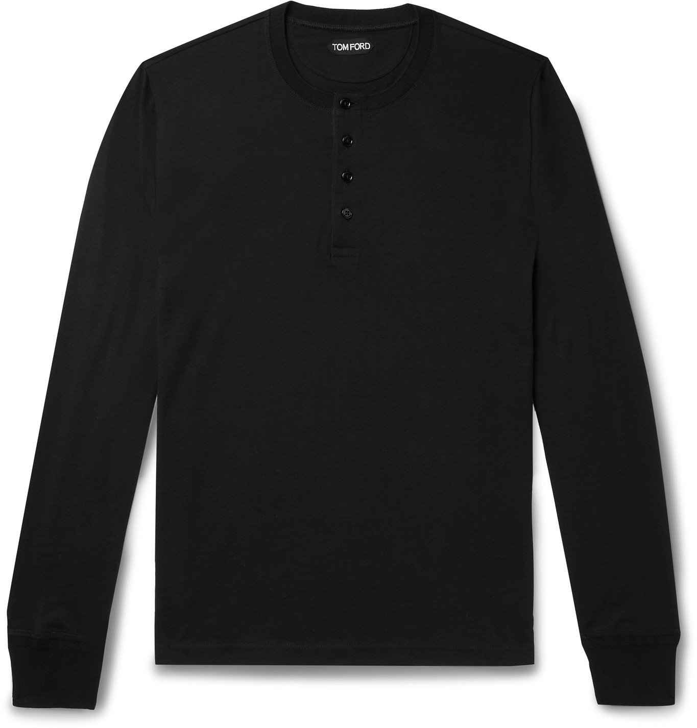 Photo: TOM FORD - Cotton-Jersey Henley T-Shirt - Black