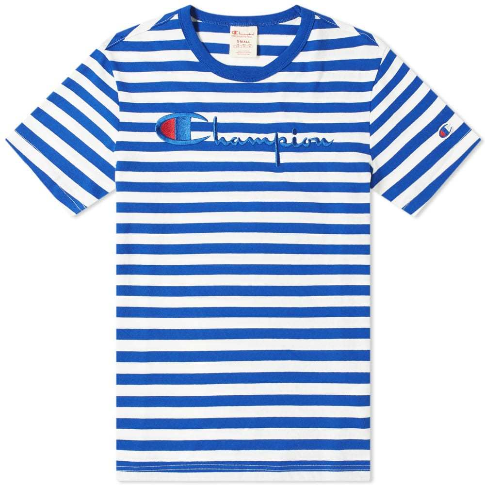 Photo: Champion Reverse Weave Stripe Script Logo Tee Blue & White