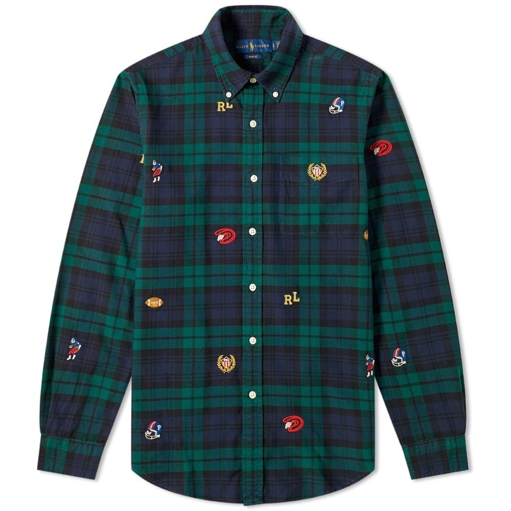 Photo: Polo Ralph Lauren Slim Fit Sports Motif Button Down Tartan Shirt