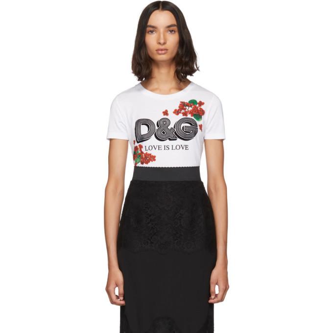 Photo: Dolce and Gabbana White Geranium T-Shirt