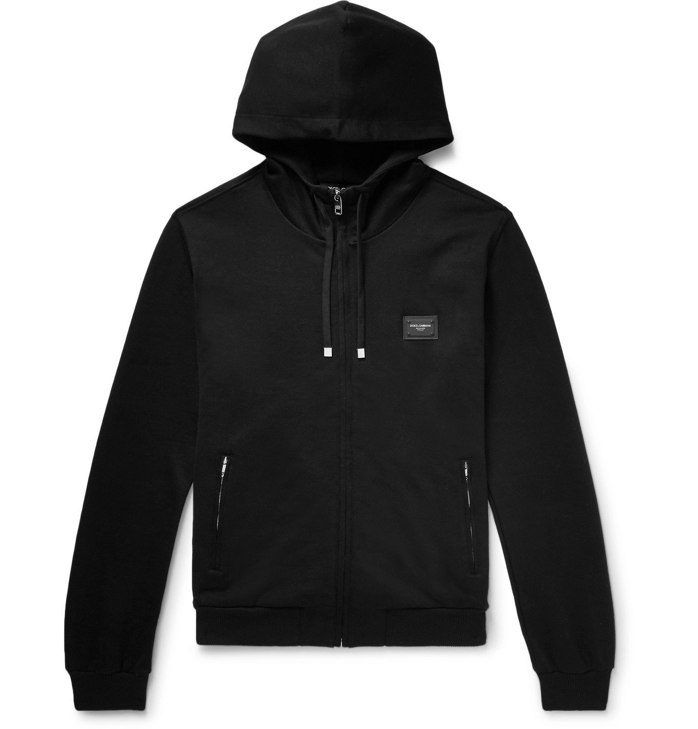 Photo: Dolce & Gabbana - Cotton-Jersey Zip-Up Hoodie - Black