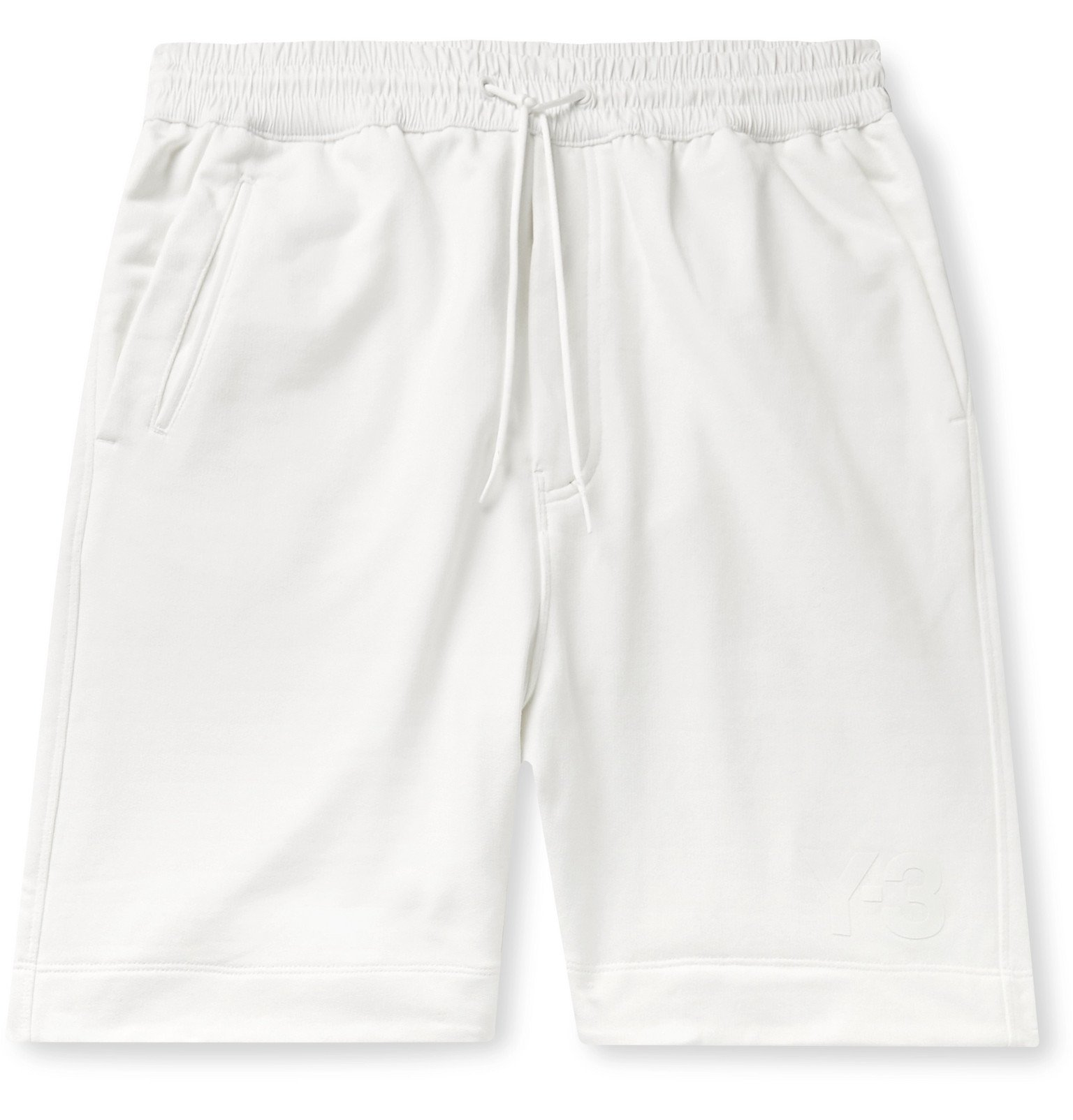 Photo: Y-3 - Wide-Leg Shell-Trimmed Loopback Cotton-Jersey Drawstring Shorts - White