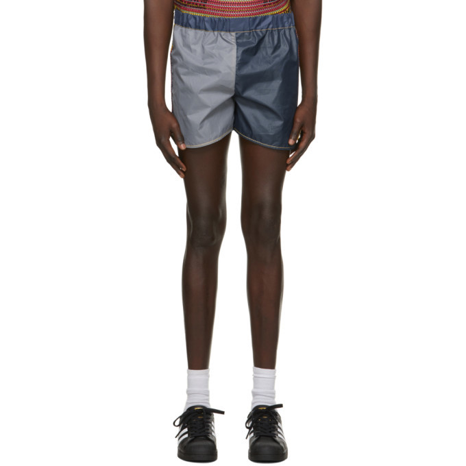Photo: Bethany Williams Navy and Grey Attenzione Tent Shorts