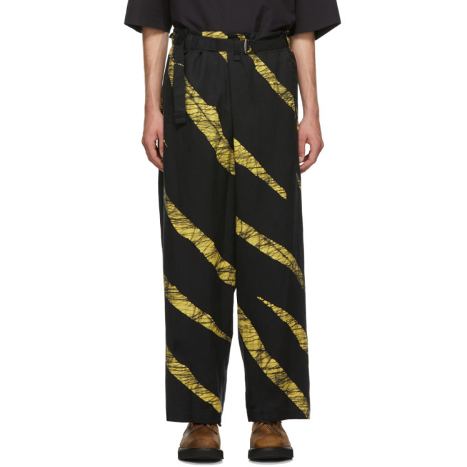 Photo: Issey Miyake Men Black and Yellow Wind Print Belted Trousers
