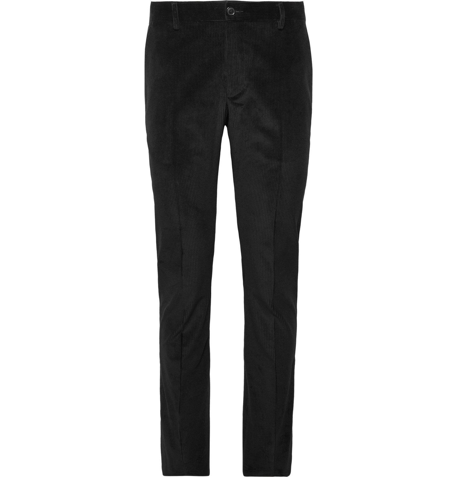 Photo: Tod's - Black Slim-Fit Cotton-Velvet Suit Trousers - Black