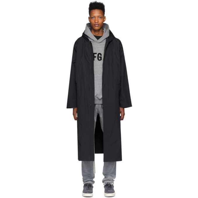 Photo: Fear of God Black Nylon Hooded Raincoat