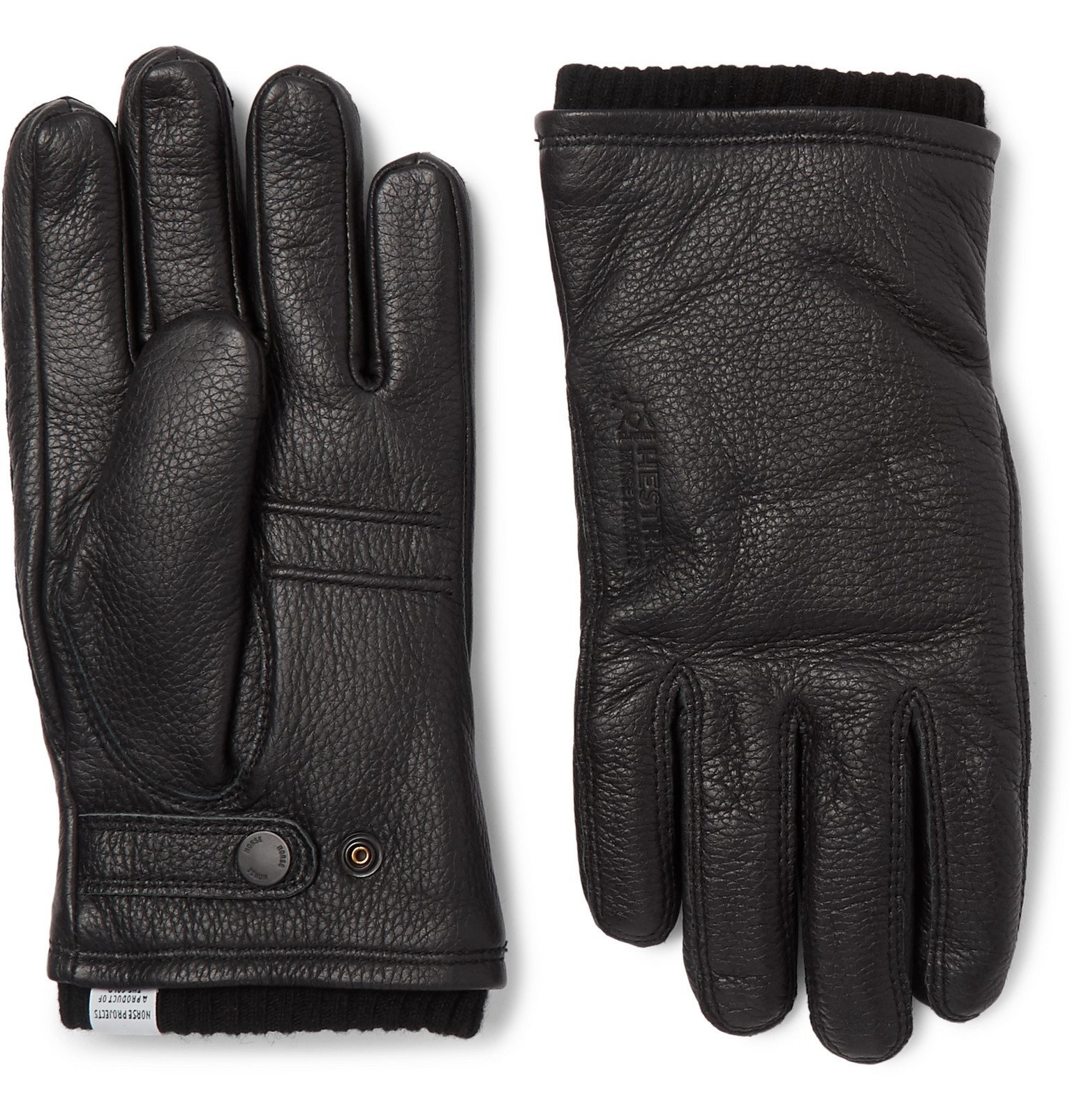 Photo: Norse Projects - Hestra Utsjo Wool Blend-Lined Full-Grain Leather Gloves - Black